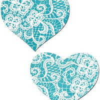Blue and White Satin Heart Pasties