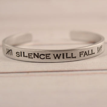 """SILENCE WILL FALL"" Doctor Who Inspired Cuff Bracelet"