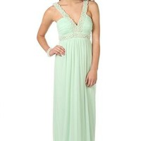 long prom dress with pearl beaded neckline and empire waist - debshops.com