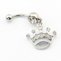 316l Surgical Steel 14g Princess Tiara Crown Dangle Belly Navel Ring Barbell Button Body Jewelry