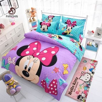 ParkShin Mickey Mouse Bedding Set Cartoon Kids Favorite Home Textiles Light Blue and Purple Bedclothes Twin Queen Size 3pcs/4pcs