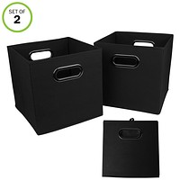 Evelots Navy Or Black Foldable Fabric Cube Storage Bins