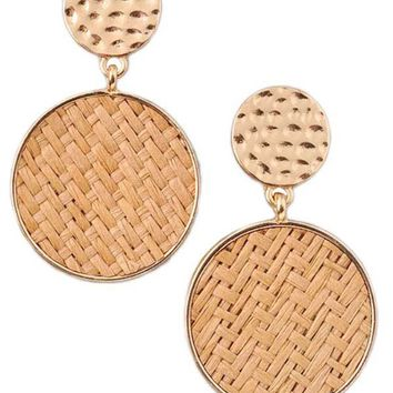 Raffia & Gold Tone Double Circle Earrings