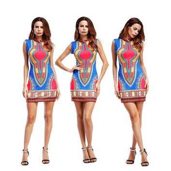 High-neck Print Sleeveless Bodycon Short Dress