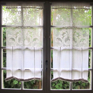 Lace Roman Shade, White French Curtains, Cotton Shabby Chic Curtains, Roll up Blind, Upcycled