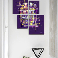 """Original abstract painting. 4 piece canvas art. 42x34"""" Large painting. Purple painting with yellow, lavender. Modern wall art. Contemporary"""
