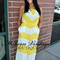 Beach Ball Yellow Chevron Tie Maxi Dress - Modern Vintage Boutique