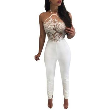 ESB1ON 2017 Fashion Lace  Jumpsuit rompers womens Slim Fit Party Playsuit Ladies Sexy Sleeveless Long Jumpsuit overalls body feminino