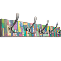 Entryway Coat Rack, Handmade Paper, Vertical Colorful Stripes, Recycled Wood, Clothes Hanger,  Wall Storage,  Mudroom Hanger, Wedding Gift