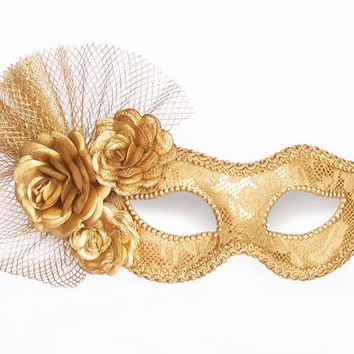 Metallic Gold Masquerade Mask With Fabric Roses -  Lace Covered Venetian Mask Decorated With Flowers And Tulle
