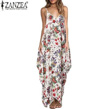 ZANZEA Vintage Floral Print Long Dress Women Sexy Straps V-neck Backless Casual Loose Maxi Boho Beach Dresses Plus Size Vestidos
