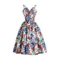 Vintage 1950s Tropical Blooms Cotton Dress