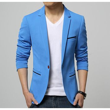 2017 Fashion Party Mens slim fit cotton blazer Suit Jacket black blue beige plus size L-6XL Male blazers Mens coat Wedding dress