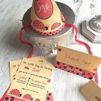 LadyBug birthday party,  lady bug printable invitation, lady bug party hat, lady bug thank you card, party printables