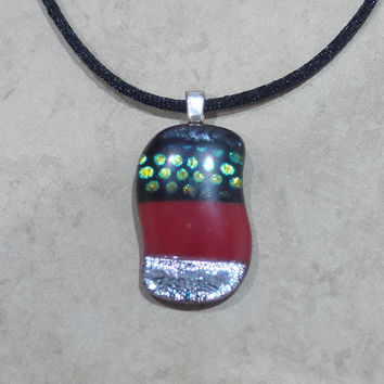 Striped Pendant, Silver Green Red and Black, Sparkly Jewelry - Ooh Personality -5
