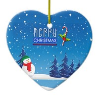 Merry Christmas Candy Cane and Snowman Ceramic Ornament