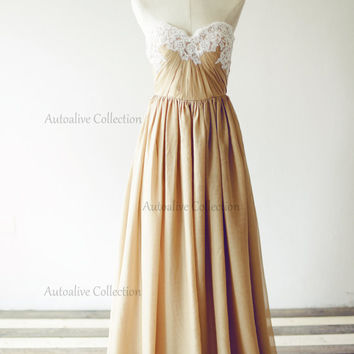 Strapless Sweetheart Champagne Chiffon Lace Wedding Dress/Bridesmaid Dress/Prom Dress