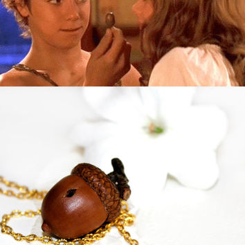 Peter Pan Kiss Necklace, Lucky Acorn Autumnal Jewelry Natural Fall Real Acorn and Cap Wendy Darling J.M. Barrie Thimble Hidden Finding Fauna