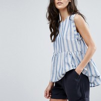 Y.A.S Stripe Ruffle Top at asos.com
