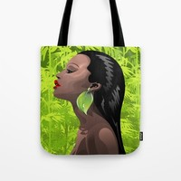 Woman African Beauty and Bamboo Tote Bag by bluedarkatlem