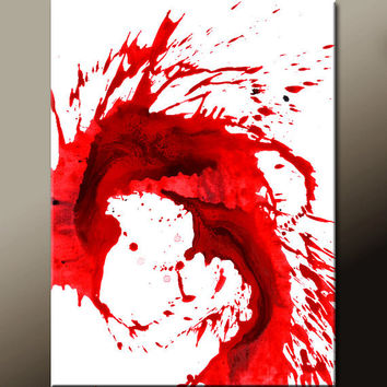 Red Abstract Art Canvas Painting 18x24 Contemporary Wall Art Paintings by Destiny Womack - dWo - Moment of Impulse