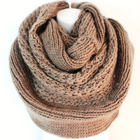 Womens Chunky Knitted Scarf Oversized Chunky Scarf Infinity Scarf Winter Scarves Cozy Snood or Cowl Mocha Fall Scarf