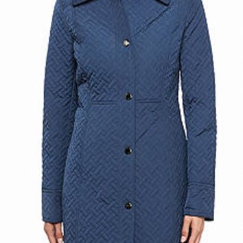 Anne Klein Quilted Snap Front Coat