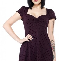 SOURPUSS POLKA DOT VIXEN DRESS PURPLE - Sourpuss Clothing