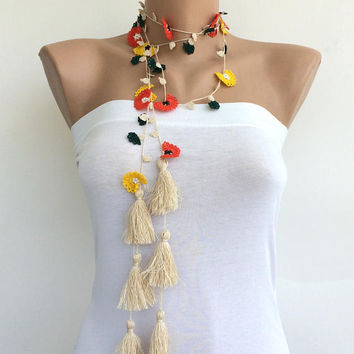 Boho Fringe Necklace, Oya Crochet Necklace, Long Wrap Necklace, Africa Tassel Necklace, Beaded Lariat, Crochet Jewelry, ReddApple