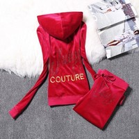 Juicy Couture Logo Velour Tracksuit 2128 2pcs Women Suits Red