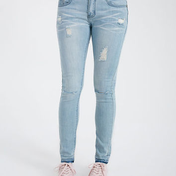 Slit Knee Release Hem Jeans | Wet Seal