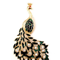 Large Vintage Peacock Brooch