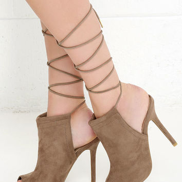 Got You Covered Taupe Suede Lace-Up Heels