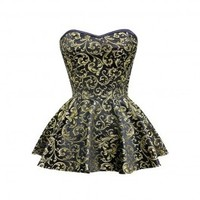 ND-212 - Black and Gold Brocade Peplum Corset