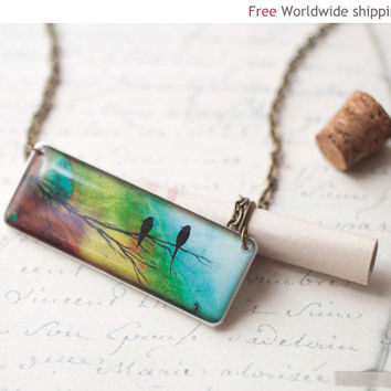 Ombre necklace  Two birds N044 by BeautySpot on Etsy