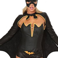 Black Long Sleeve Cut-Out with Cape Mini Jumpsuit Batwoman Costume