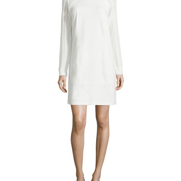 Women's Ponte Dress with Cable-Knit Sleeves - Laundry by Shelli Segal - Warm white