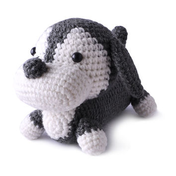 Dark Gray-White Dogs Handmade Amigurumi Stuffed Toy Knit Crochet Doll VAC