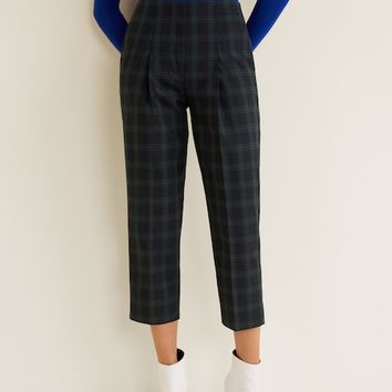 Check cotton trousers - Women | MANGO United Kingdom