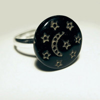 Black and Gold Moon & Stars Adjustable Silver Ring