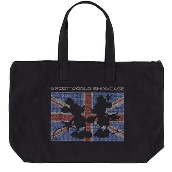 Disney Parks Micky & Minnie Mouse Union Jack Glitter Tote Bag New with Tag