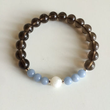 Genuine Angelite, Moonstone & Smokey Quartz Bracelet w/ Sterling Silver Accents ~ Healing ~ Compassion, Inner Growth and Grounding