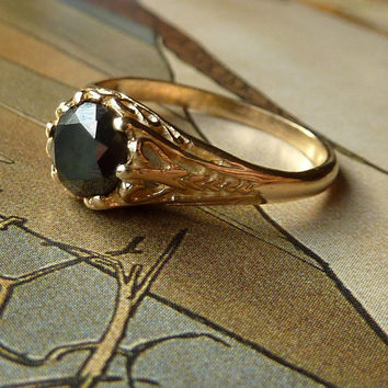 Art Nouveau Style Black Diamond Ring