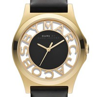 Women's MARC BY MARC JACOBS 'Henry Skeleton' Watch, 40mm - Black/ Gold