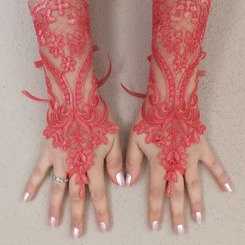 Weddinggloves Original design '' Pomegranate Flower''  Wedding Gloves, High Quality, FREE SHIP,