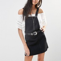 River Island | River Island Denim Pinafore Mini Dress at ASOS