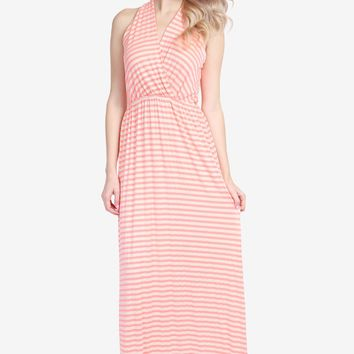 T-STRAP BACK STRIPED MAXI DRESS