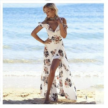 Women sexy off shoulder chiffon floral printed deep V boho summer sundress beach vestidos side split long wrap dress