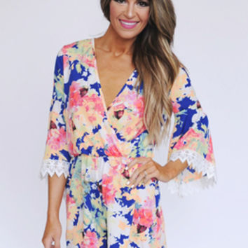 Royal Floral Bell Sleeve Romper