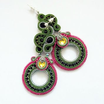 Soutache earrings. Flashy dangle earrings. Bold soutache earrings. Elegant jewelry. Glamour braided jewelry. Soutache Handmade jewelry.